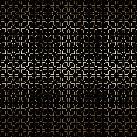 Simple geometric golden and black linear seamless pattern background, art deco style. Luxury decorative ornament. Vintage vector background, wallpaper. Gold geometric shapes, elegant retro texture
