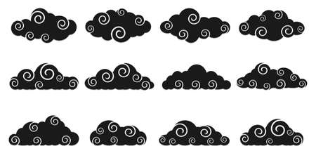 Chinese Clouds black color, different shapes,cloud icon set, cut style. Decoration cloud, vector collection