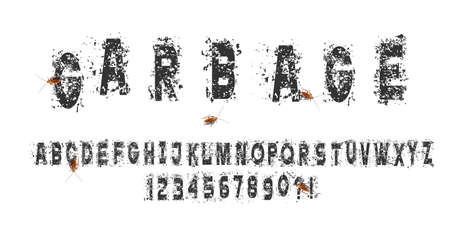 Grunge abc, vector alphabet. Vintage font design. Isolated vector typography set. Grungy texture. Grunge style alphabet