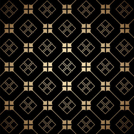 Golden and black art deco seamless pattern. Luxury decorative ornament. Vintage vector background, wallpaper. Gold geometric shapes, elegant retro texture