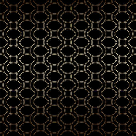 Geometric golden and black linear seamless simple pattern background, art deco style. Luxury decorative ornament. Vintage vector background, wallpaper. Gold geometric shapes, elegant retro texture Ilustração