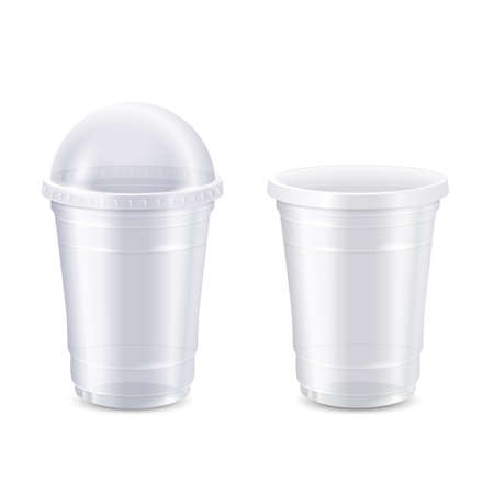 Vector set of empty clear disposable plastic cup,realistic 3d. Transparent container for juice fresh, milkshake and lemonade. Vector Illustration isolated on white background, Mock Up template