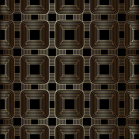 Geometric golden and black seamless linear pattern background, art deco style. Luxury decorative ornament. Vintage vector background, wallpaper. Gold geometric shapes, elegant retro texture