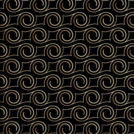 Art deco pattern with swirls , black and gold colors. Luxury decorative ornament. Vintage vector background, wallpaper. Gold geometric shapes, elegant retro texture