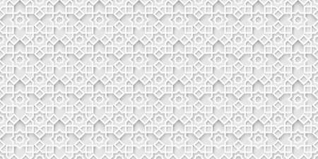 White islamic background, light grey arabic pattern. Arabian wallpaper. Geometric ornament  3d style vector. Texture east traditional motif Ilustração