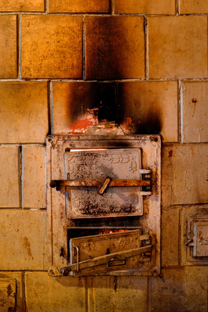 A burning furnace in an old country house