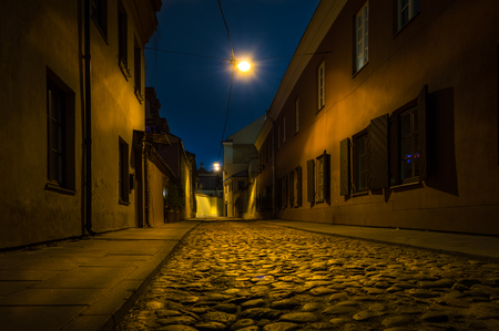 Street at night in Vilnius old town