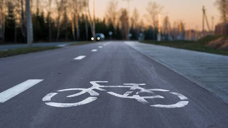 Bicycle - a sign marking cycling track in the suburbs of a city