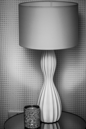 home accessories: modern lamp and candle  Stock Photo
