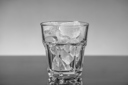 shaken: A glass with ice cubes