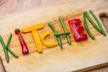 vegtables: Kitchen as a sign for cooking, cuisine, chefs, food and drink