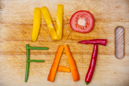 脂肪、野菜から形成された文字で書かれた単語