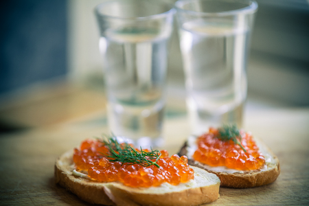 Vodka and red caviar