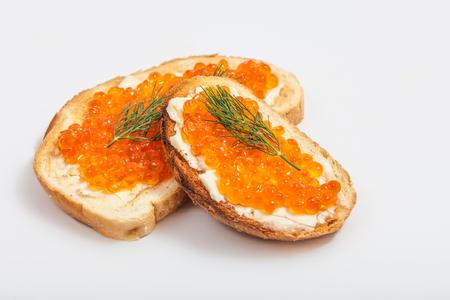Roter Kaviar Sandwiches Standard-Bild - 29919282