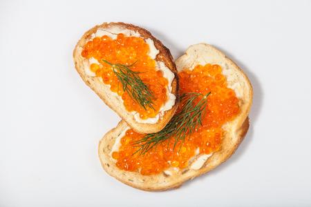Red caviar sandwiches Standard-Bild