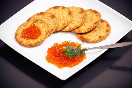 Red caviar sandwiches Фото со стока - 29919341