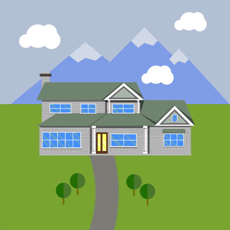 rural development: House in flat design. Vector Architecture Illustration.