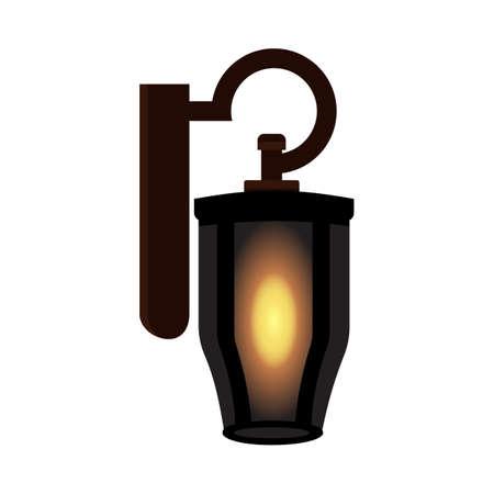 빈티지 오래 된 램프입니다. 고립 된 벡터 일러스트 레이션 일러스트