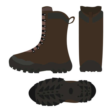 Hiking shoes, boots, vector illustration, isolated on white Illustration