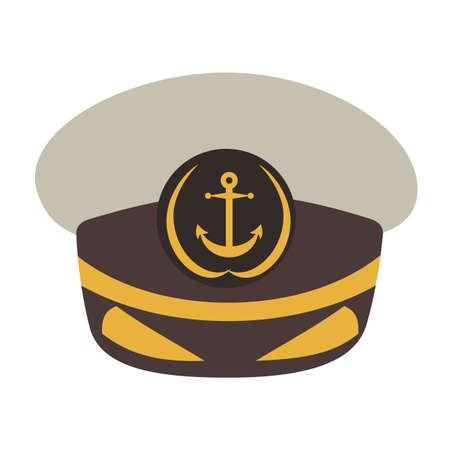 admiral: Captain hat. Flat style vector illustration.