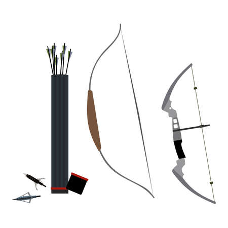 Set of bows, arrowheads, arrow and quiver of arrows. Vector illustration isolated on white background.