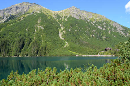 morskie: Lake in mountains (Morskie Oko in Tatras, Poland) Stock Photo