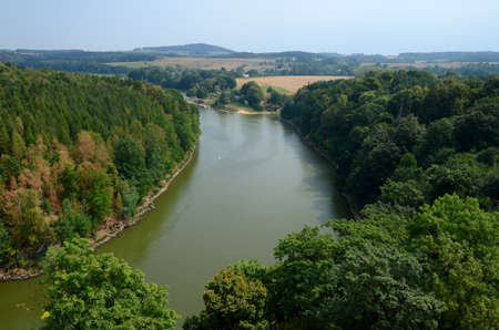 sudeten: Landscape with a river flowing through the forest Kwisa in Poland