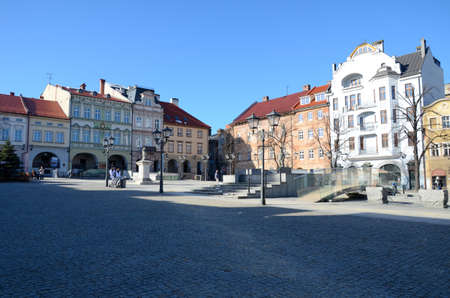 faade: Old market in Bielsko-Biala (Poland) Stock Photo