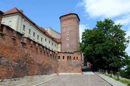 fortify: The wall of the royal castle in Krakow (Poland)