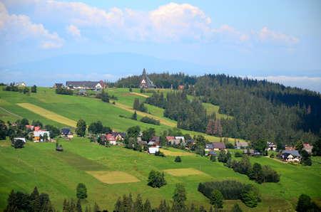 Podhalean landscape with a view of Babia Gora (Poland)