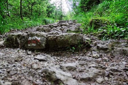 steep: rocky mountain trail Stock Photo