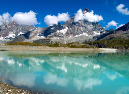 matterhorn: View to Matterhorn from Cervinia in italian Alps Stock Photo