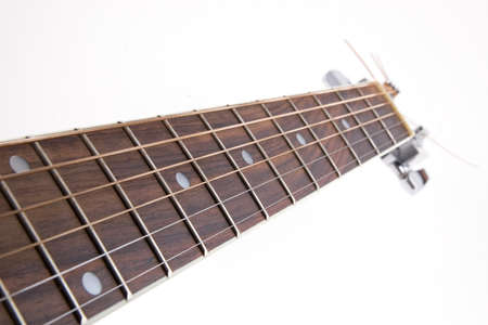 resonate: Acoustic guitars neck on white