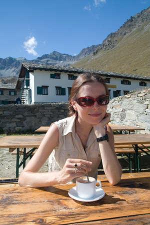 Cappuccino in italian Alps (Gran Paradiso) photo