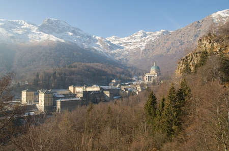View to Sanctuary Oropa in Italy photo