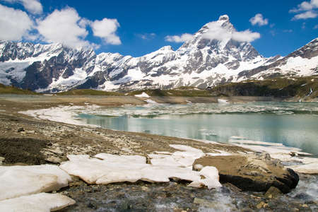 View to Matterhorn peak from environs of Cervinia (Italian Alps) photo