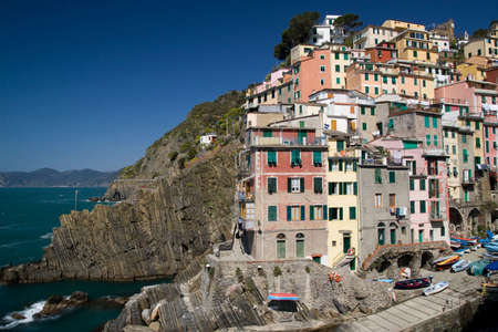 View to Riomaggiore - one of the villages in Cinque Terre (Italy) photo
