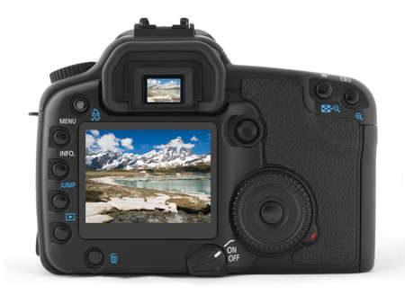 Back of professional digital photo camera with photo of Matterhorn photo