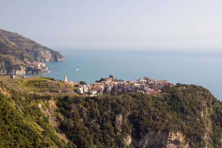 View to Corniglia - one of the villages in Cinque Terre (Italy) photo