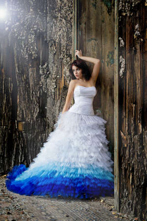 Young woman wearing wedding dress Stock Photo - 14808856