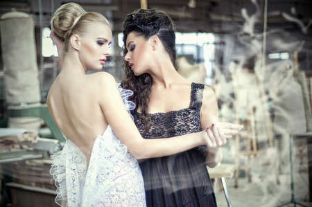 Two stunning ladies in a dancing pose Stock Photo - 14808545