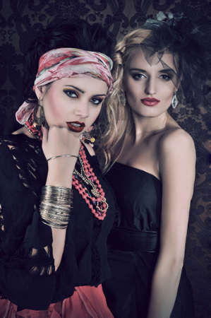 gipsy: Portrait of gorgeous gypsy woman with another women
