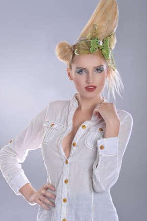 fashioned hair woman wearing white shirt Stock Photo - 14808646