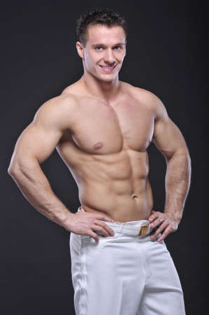 naked abs: Good looking bodybuilder Stock Photo