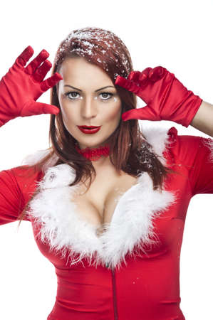 beautiful sexy girl wearing santa claus clothes Stock Photo - 17257426