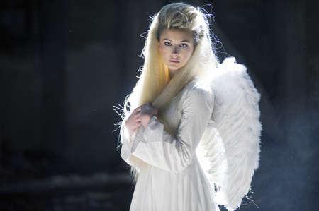 black angel: Cute blondie as an angel