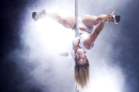 poledance: Young pole dance woman Bright white colors