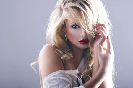 Sexy strict woman with red lips Stock Photo