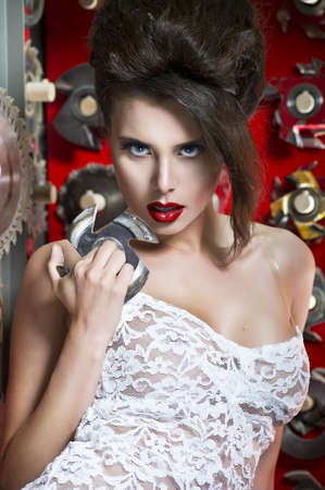 buzz saw: Sexy women with red lips Stock Photo