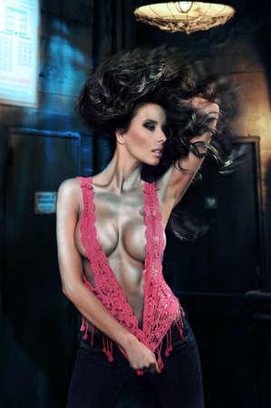 sexy woman disco: Sexy young girl dancing Stock Photo